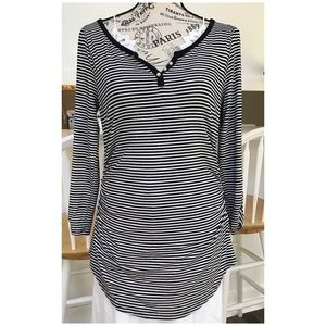 White House Black Market Striped Rouched Top